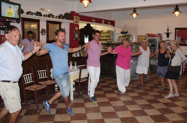 Enjoying Greek dances during the tavern meals in Syros. http://www.omilo.com/syros/