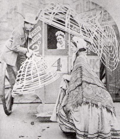 In 1858, crinolines had to be hung outside public transportation to get aboard: