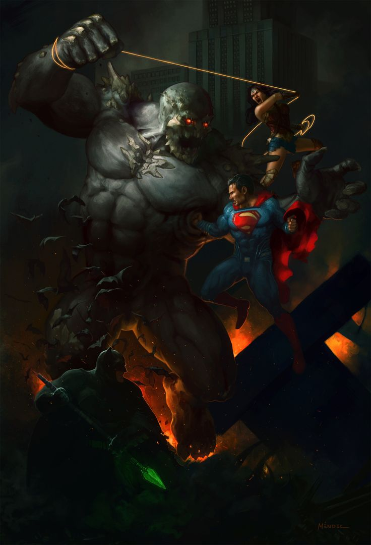 The Trinity vs Doomsday by Francisco Méndez - Visit to grab an amazing super hero shirt now on sale