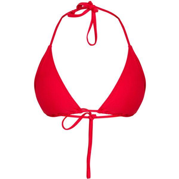 Mix Match Red Triangle Bikini Top ($14) ❤ liked on Polyvore featuring swimwear, bikinis, bikini tops, swim wear, red swim top, swimsuit tops, summer bikini and red bikini