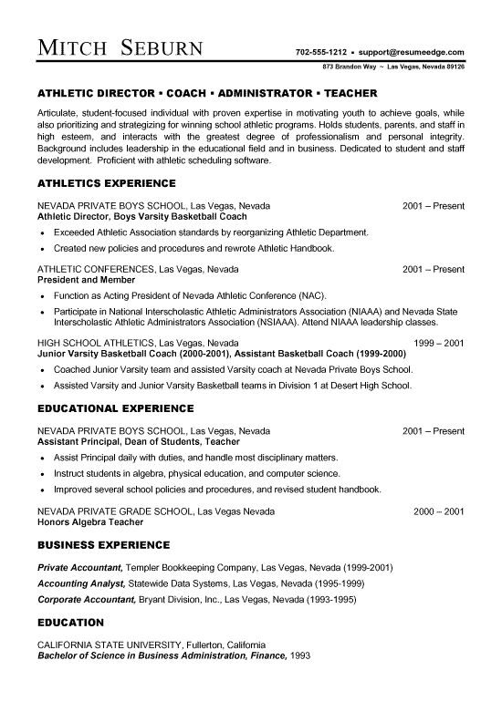 Coach Athletic Director Resume Examples Resume Coach
