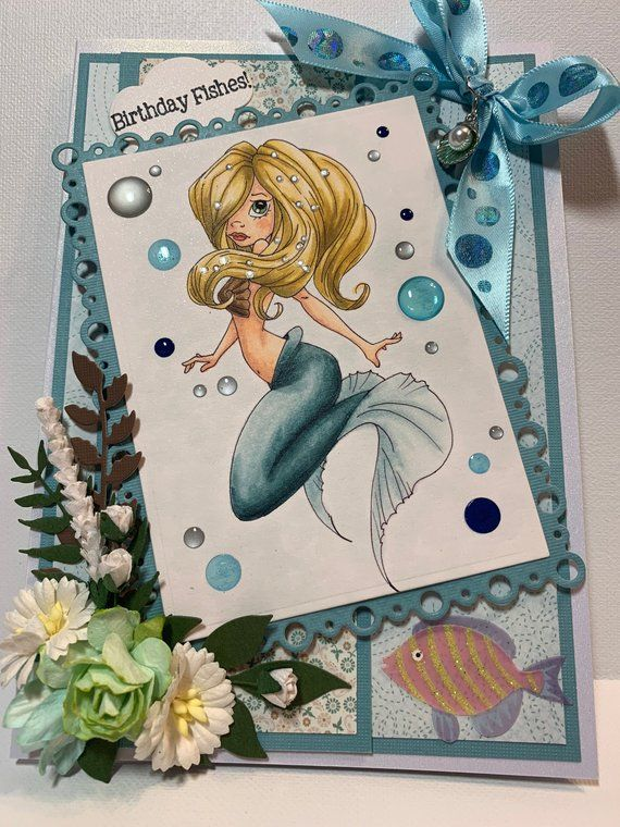 Birthday Card For Her Mermaid Birthday Card For Her 3d Etsy Birthday Cards For Her 3d Birthday Card Birthday Cards