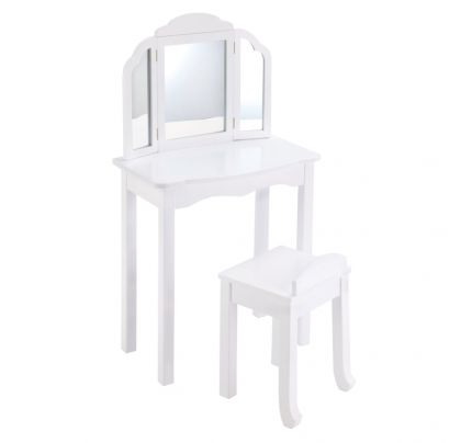 Childrens Wooden Painted White Dressing Table Stool