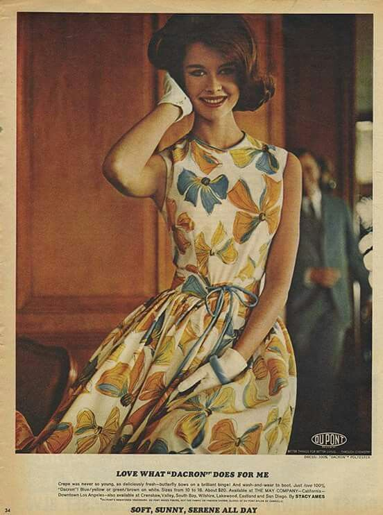 early 1960s dress: Blue and yellow print on white background; advertisement for DuPont Dacron fabric
