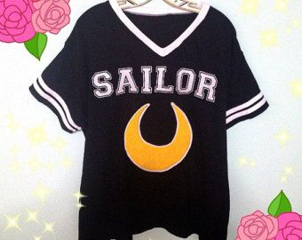Sailor Moon Inspired Fashion Jersey Football Top - Holographic Or Fuzzy Option Sizes XS-2X