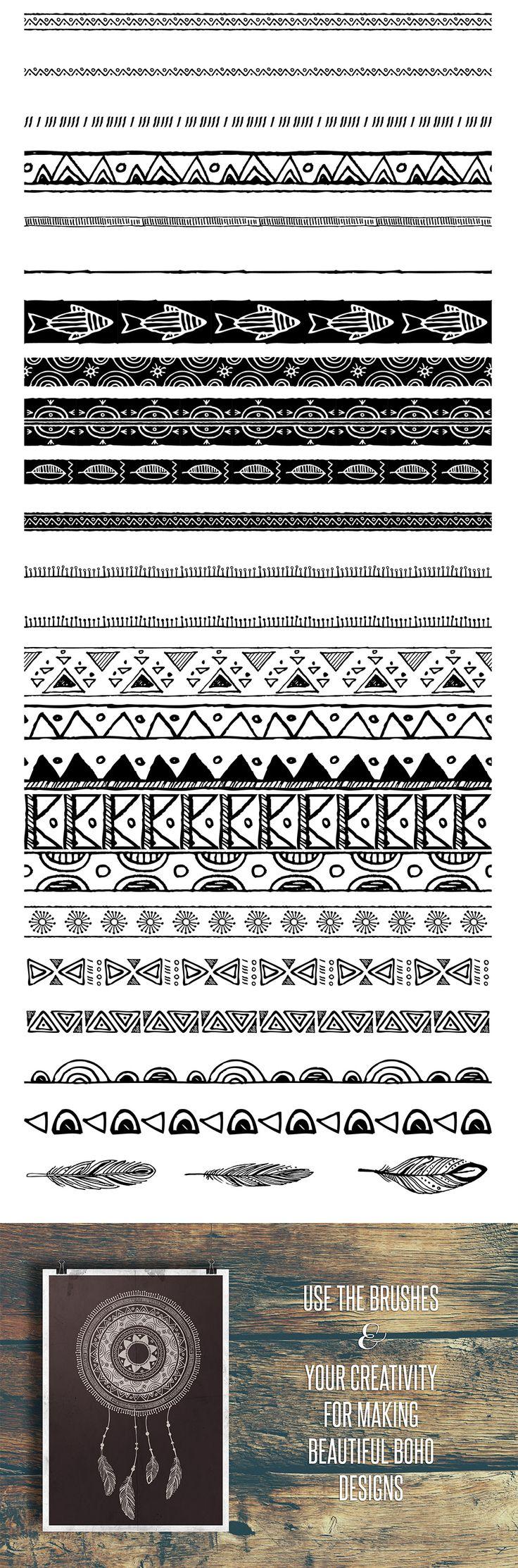 50 Boho Tribal Gypsy Brushes - https://www.designcuts.com/product/50-boho-tribal-gypsy-brushes/