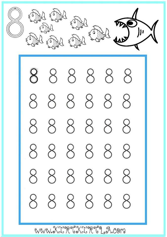 8 Rakamı Sayılar çalışma Sayfası Okuma Yazmaya Hazırlık 8