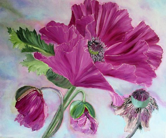 56 best flower painting for plastic bottle bottoms images on poppy painting pink poppies flower painting original mightylinksfo