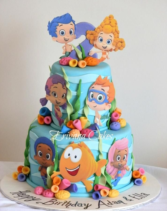 Bubble Guppies cake for a Twin. The characters are made from edible sheets.