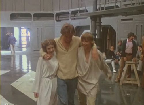 Carrie Fisher, Harrison Ford and Mark Hamill on the set of Star Wars 1977