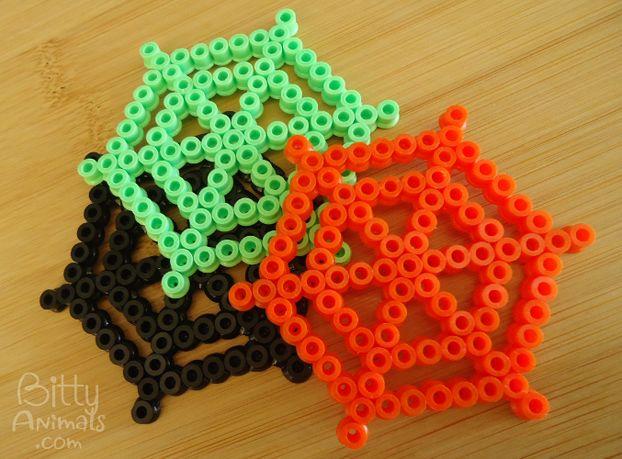 Completed spider web cobweb perler / hama bead designs ideal for Halloween crafting