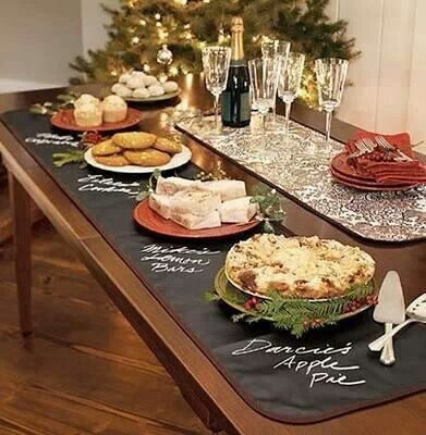 This just gave me the best idea!!! Paint the potluck table with chalk paint, then have guest label their food!!!!