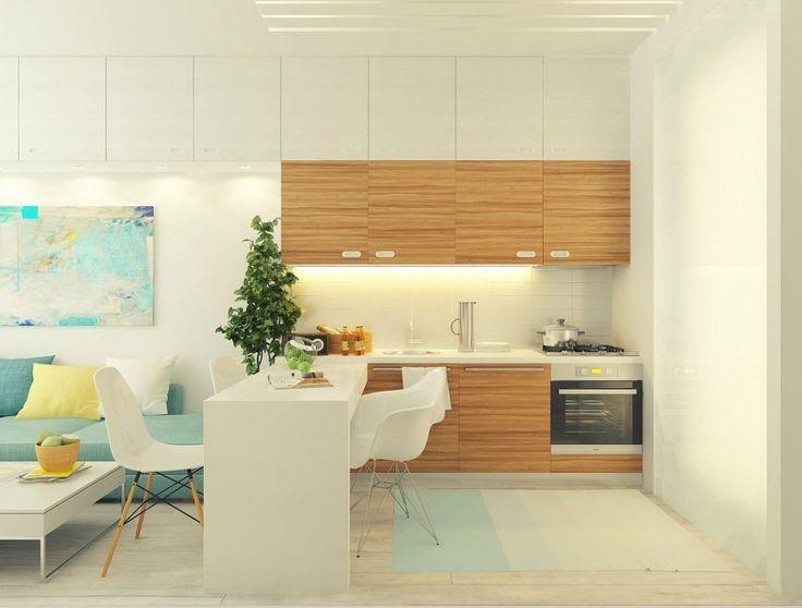 6畳、8畳、10畳の小さなダイニングキッチンがこんなに素敵に! 狭いDKスペースの有効的でおしゃれなインテリアコーディネート実例画像を集めました。  マンションやアパートの狭いダイニングキッチンから、一人暮らしやワンルームの限られたスペースなどでも、居心地のよい素敵なDK空間を作ることができます。   <ワンルームのDKレイアウト> マンションやアパートなどのワンルーム空間の一角にあるような6畳ほどの小さなDKスペースで、狭い印象どころか広々とした心地よい空間レイアウトを実現させています。    白はご存知空間を広げてみせる色。 お部屋の大半を占める床や壁、大きな家具は白ベースをチョイスするのがポイントです。  狭いスペースには必要な収納力のあるキッチンキャビネットを、リビングエリアまで伸ばしても、白壁と同化させているので視界の邪魔になっていません。  ワンルームに多い壁付けのキッチンレイアウトに、ダイニングテーブルをL字に合わせて空間の仕切り役に。ここでもテー...