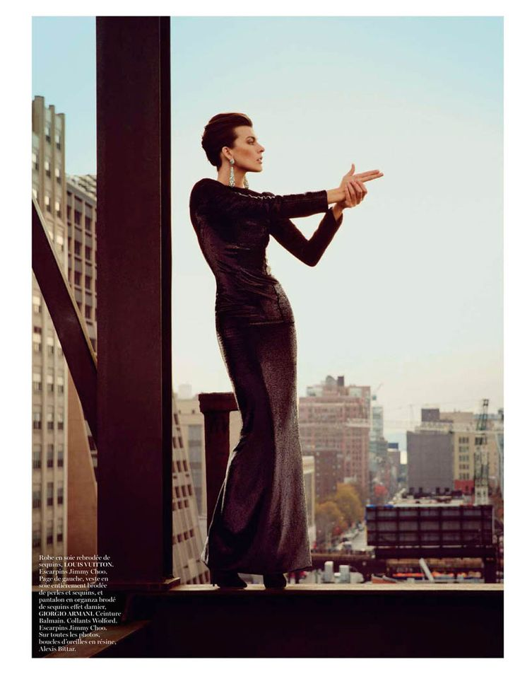 Milla Jovovich wearing Louis Vuitton photographed by Inez & Vinoodh for the February issue of Vogue Paris