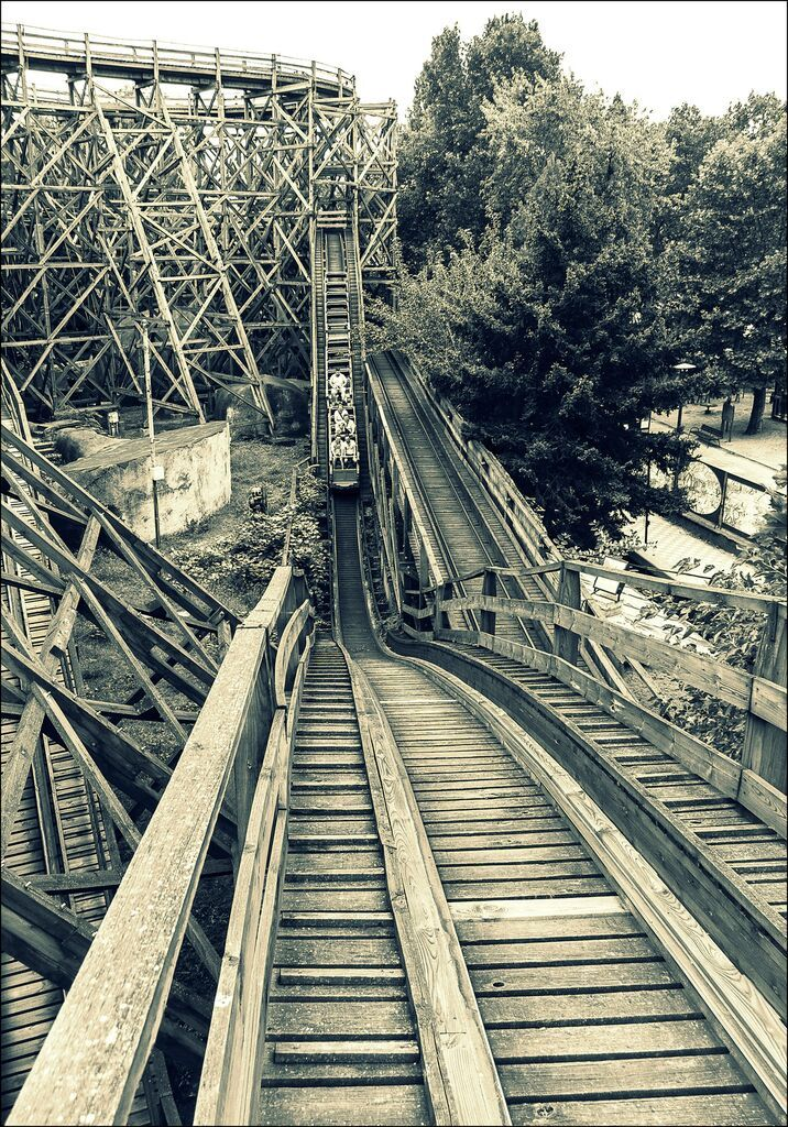 Wooden roller coaster in the Budapest amusement park. It was built around 1830.