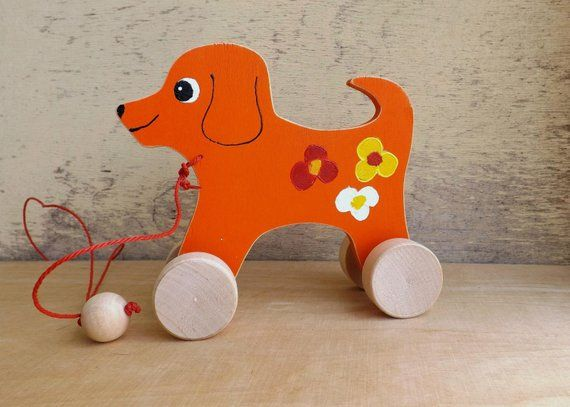 Wood Pull Toy Dog Cat Hand Painted Wooden Animal On Wheels