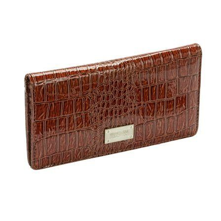 "Kenneth Cole Reaction Flattered Moc Croc Checkbook Wallet in Choice of Colors (KC-112513-Brown) Kenneth Cole REACTION. $24.99. Retail price $50.00. Interior storage with zipper closure. Faux Patent Leather. 11 credit card slots. 4 Cash or checkbook compartments and 1 ID window. Measures 8"" x 4.5"" x 1.5"" closed"