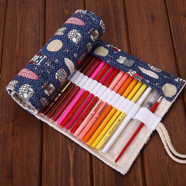 Cray Owls Roll Up Pencil Case #Blue #Canvas #Pencil-Case