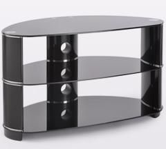 Black Glass TV Stand With Rounded Edges - Modern Furniture and Lighting | Modern Furniture and Lighting