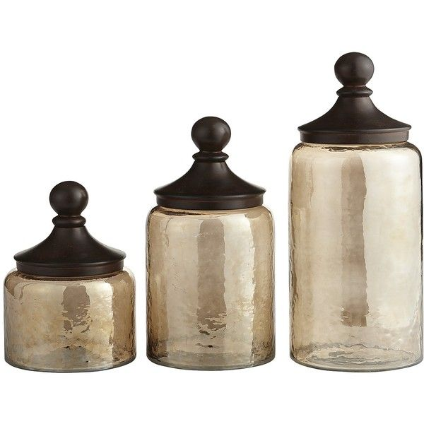 Pier 1 Imports Sundarra Glass Canisters ($120) ❤ liked on Polyvore featuring home, kitchen & dining, food storage containers, glass cannisters, fleur de lis canisters, glass canisters, pier 1 imports and rustic canisters