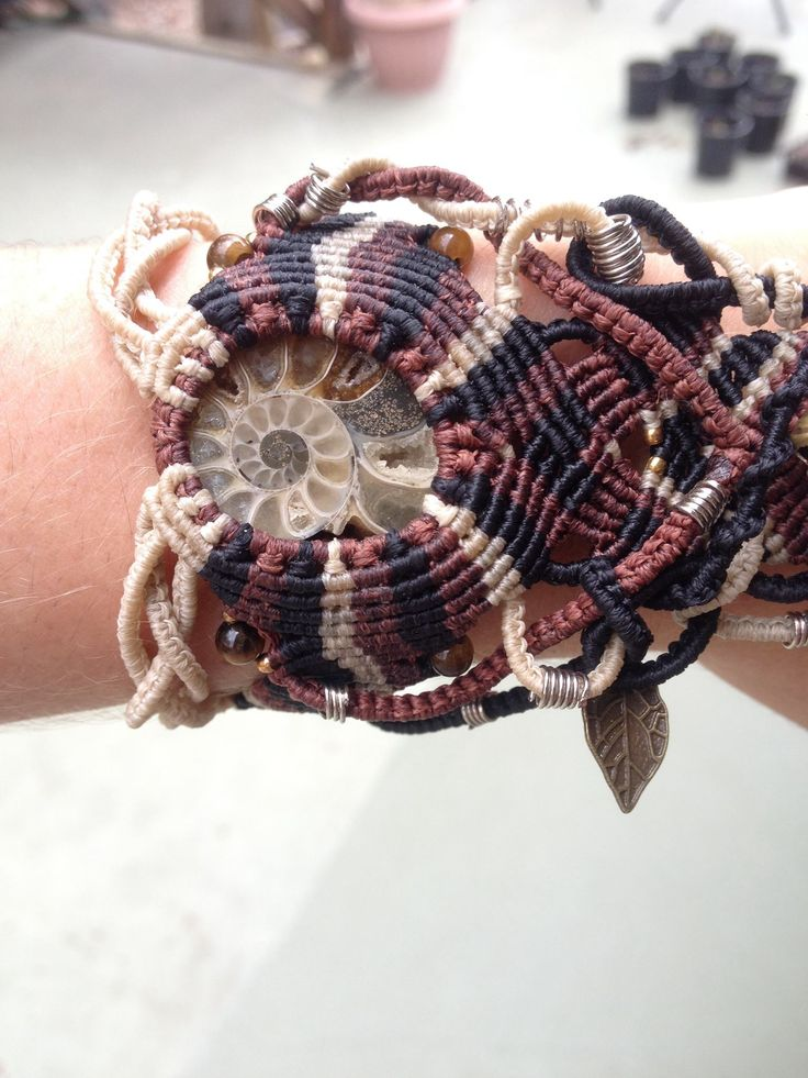 Ammonite and crazy lace agate handpiece