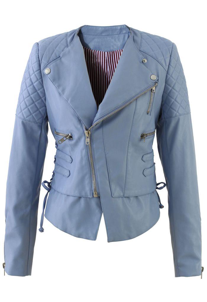 lace-up motorcycle jacket <3 #blue