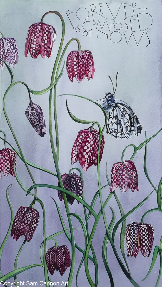 title: Fritillarys - with words by Emily Dickinson, Sam Cannon Art