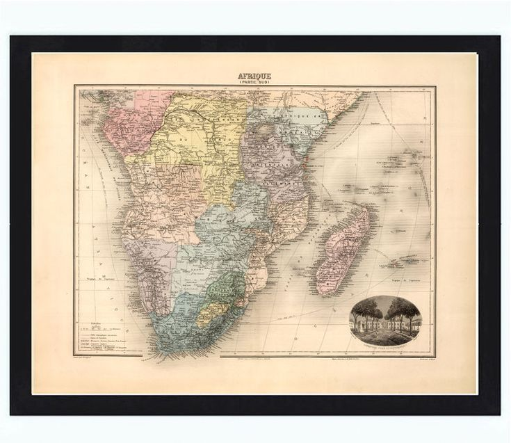 Old Map of South Africa 1892 Africa du Sud