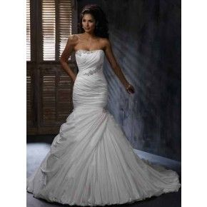 Size 6 - 20 Off White Trumpet Strapless Chapel Train Taffeta Wedding Dress gown