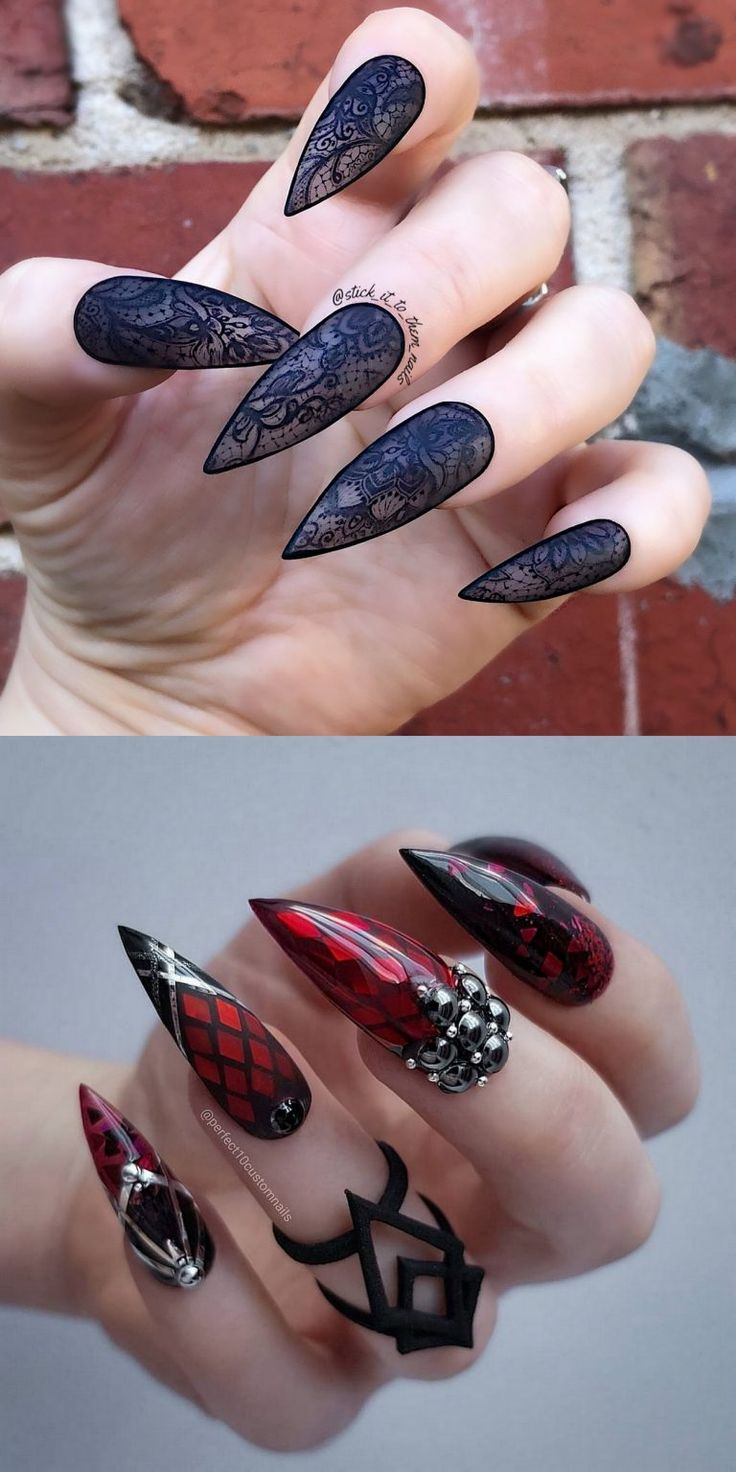 22 Wicked Long Black Nails Cool Girls Should Have a Try! – Page 4 of 6 – uñas