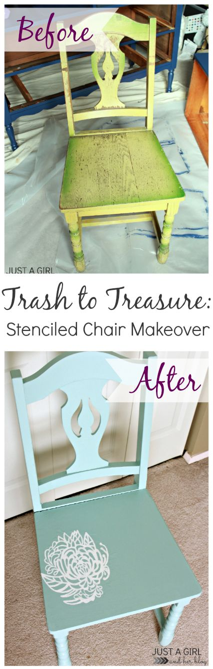 This old, ugly chair got new life with a stencil and a little bit of paint! | Just a Girl and Her Blog