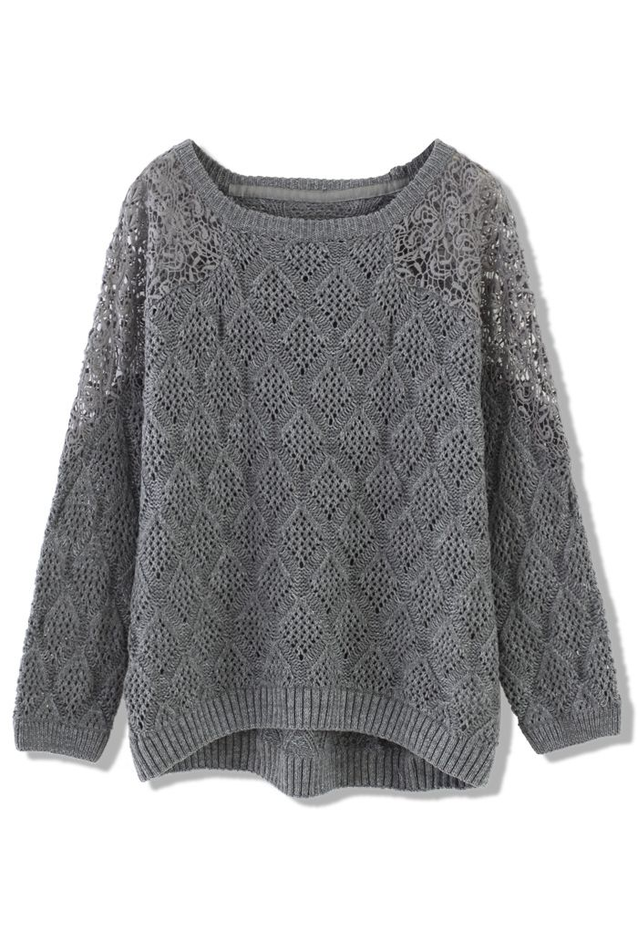 Grey Knit Sweater with Lace Shoulder | frio | Pinterest