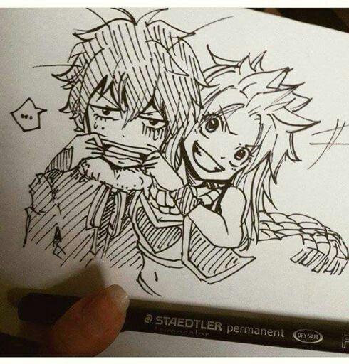 Dibujo de los hijos de Gruvia (Gray y juvia) y Nalu (Natsu y Lucy) Provenientes del famoso anime y manga mundialmente conocido, Fairy Tail , dando a conocer a los hijos de los personajes principales y de las tan deseadas parejas (shipps)