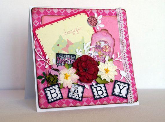 Baby Girl Card, Congratulation card, Handmade