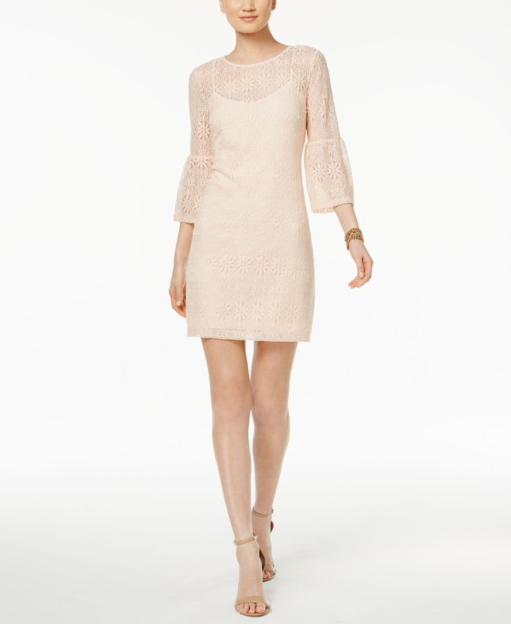 Jessica Simpson Lace Illusion Bell-Sleeve Sheath Dress