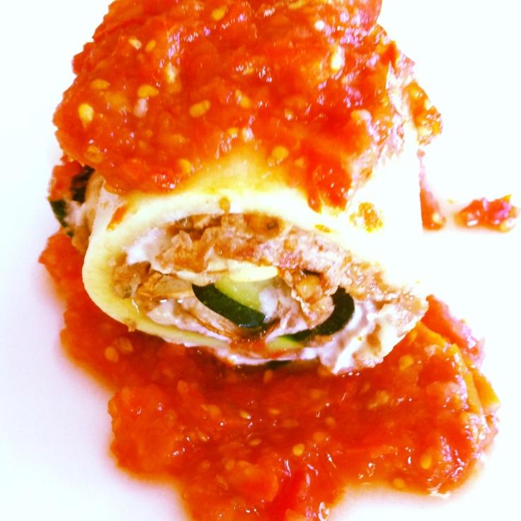 Sicilian Stuffed Zucchini with Walnut Chorizo and Spicy Tomato Sauce, Raw and Organic