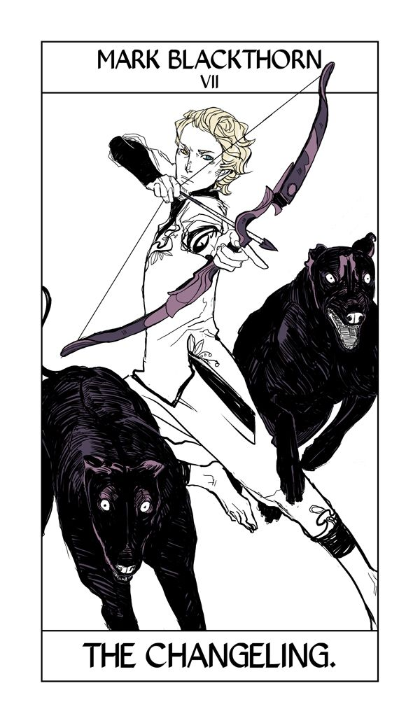 Mark Blackthorn of the Dark Artifices takes the Chariot card, Here called the Changeling. Mark has fey blood like his sister Aline, both of whom you'll see in City of Heavenly Fire. He's carrying a kind of bow and arrow known in mythology as an elf-arrow or elf-bolt.