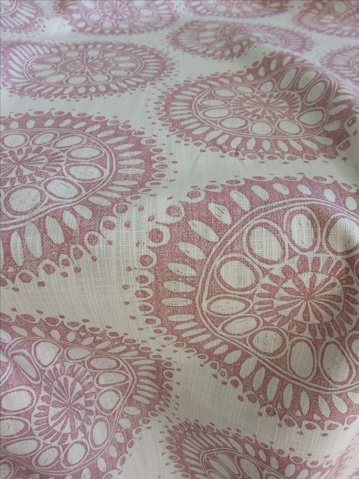 Maradadhi Textiles, Maradadhi Flower Design. This colourway is Vintage Pink onto white cotton.