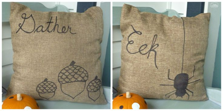 DIY Fall Pillows made with Sharpie (...wonder if this would work on tightly woven burlap)