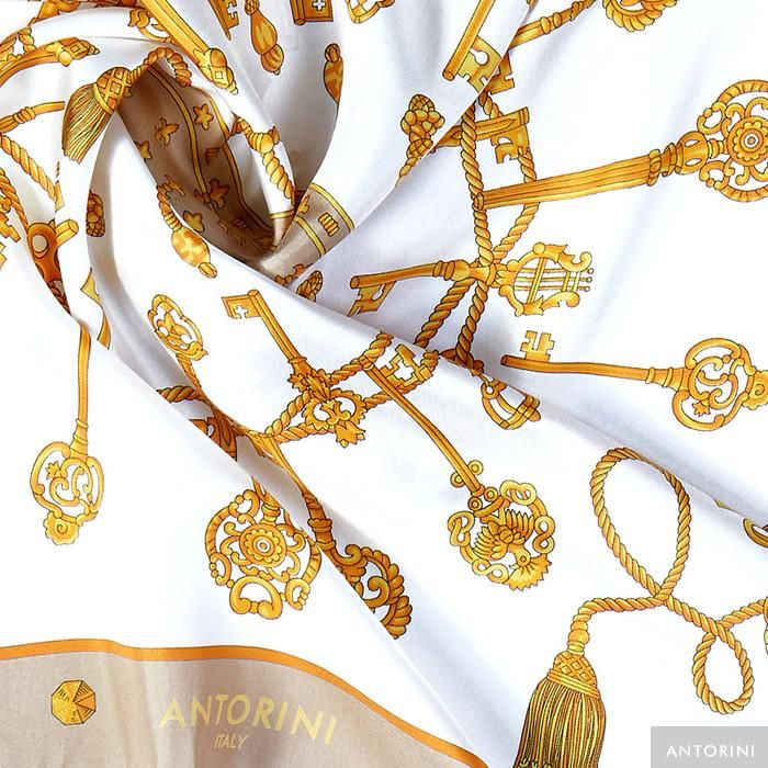 ANTORINI Silk Scarf in Cream with Keys