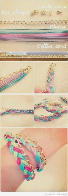 Bracelet DIY réalisé en chaines et fils (tuto)   Bracelets Brésiliens   Tout sur comment réaliser bacelets brésiliens et bracelets en macramé