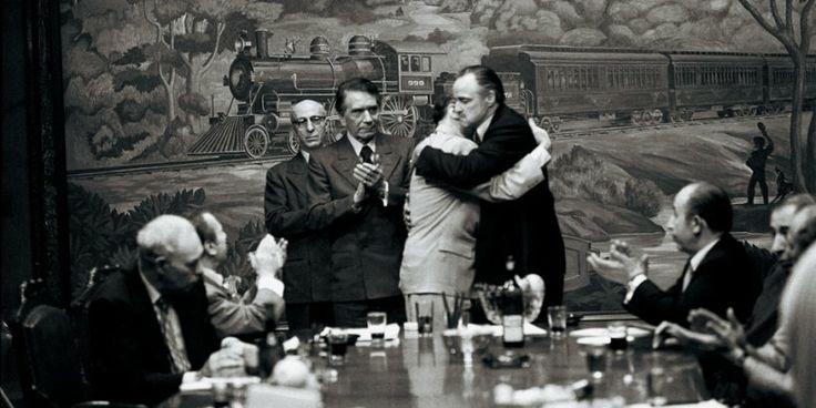 The Godfather Family Album. TASCHEN Books (TASCHEN 25 Edition). Don Emilio Barzini (Richard Conte) oversees the cessation of hostilities between Don Philip Tattaglia (Victor Rendina) and Don Vito Corleone (Marlon Brando).