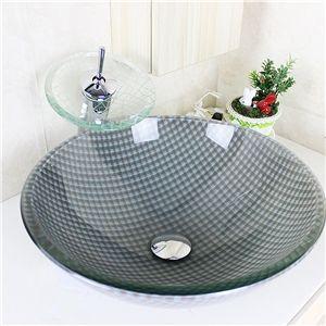 Moderne gris et blanc rond Grilles évier en verre trempé et le robinet définit avec robinet cascade des eaux de drainage anneau de montage