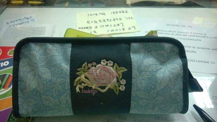 VANITY bustina portacolori tessuto vintage nuovo con etichette
