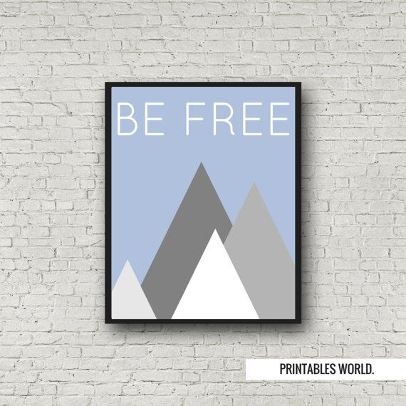 Be free Printable Poster Instant Download Blue by PrintablesWorld