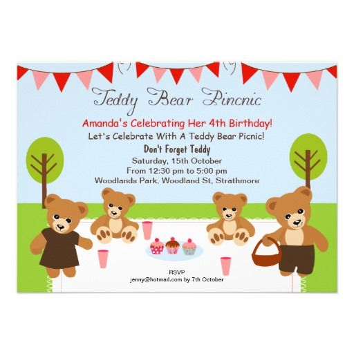 21 best picnic birthday party invitations images on pinterest teddy bear picnic birthday invitation filmwisefo