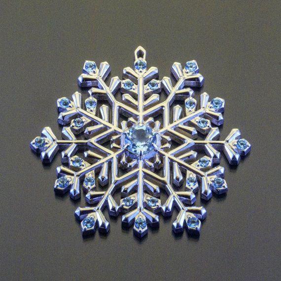 Swiss Topaz Sterling Silver Snowflake Necklace Sharm Pendant Gemstone Jewelry
