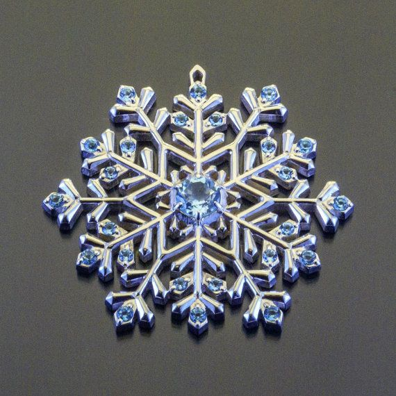 Swiss Topaz Sterling Silver Snowflake Necklace Sharm Pendant Gemstone Jewelry