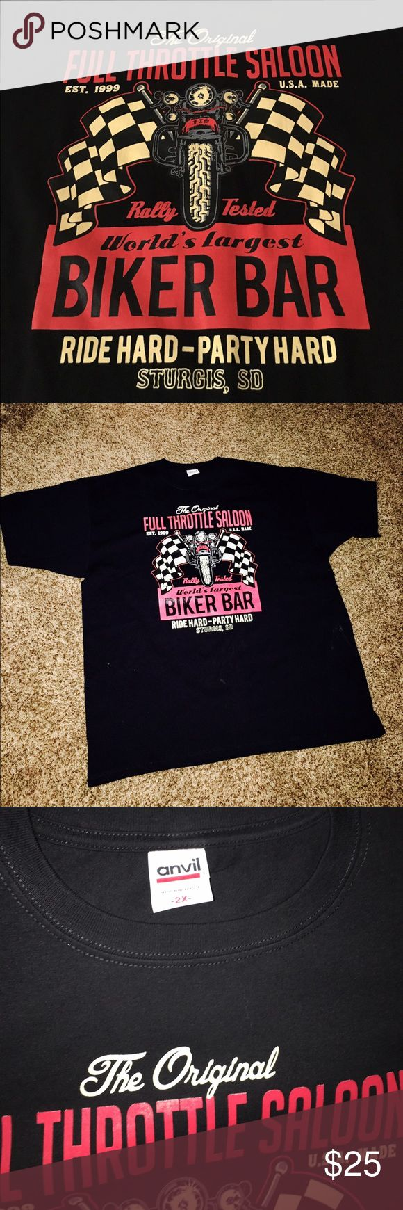 Biker Bar T-shirt, 2X NWOT Center front The Original Full Throttle Saloon Print. This premium t-shirt is as close to perfect as can be, comfortable and durable, this is a definite must-own, recommended product. Printed in New York 100%cotton new, no tag Shirts Tees - Short Sleeve