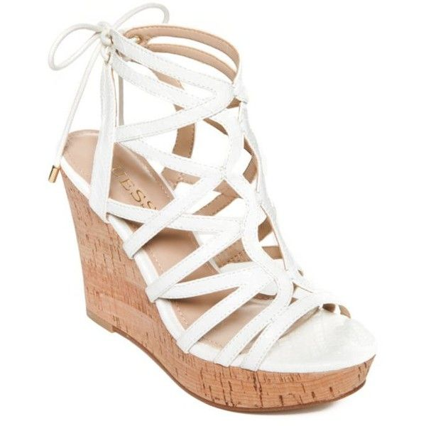 Guess White Huyana3 Cork Wedge Sandals - Women's ($79) ❤ liked on Polyvore featuring shoes, sandals, white, strap sandals, wedge heel sandals, wedge sandals, strappy wedge sandals and wedge shoes